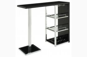 2342 Glossy Black / Chrome Metal Bar Table