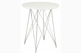 2346 Glossy White / Chrome Metal Bar Table