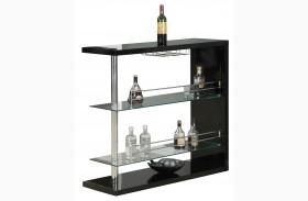 2351 Black Glossy / Chrome Metal Bar Table