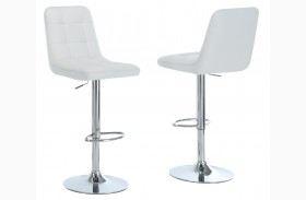 2353 White / Chrome Metal Hydraulic Lift Barstool Set of 2