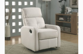 White Bonded Leather Swivel Glider Recliner