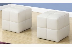 White Leather Juvenile Ottoman Set of 2