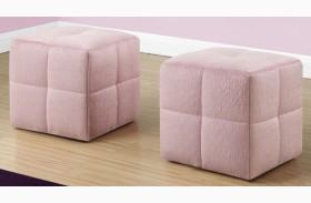Fuzzy Pink Fabric Juvenile Ottoman Set of 2