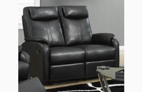 81BK-2 Black Bonded Leather Reclining Loveseat