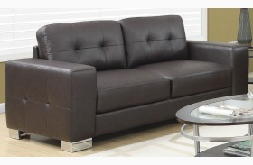 Dark Brown Bonded Leather Sofa