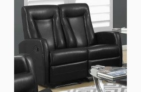 82BK-2 Black Bonded Leather Reclining Loveseat