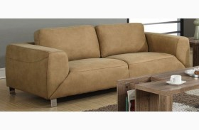 Tan/Chocolate Brown Contrast Micro-Suede Sofa