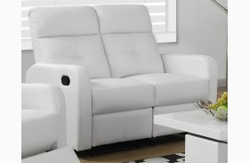 85WH-2 White Bonded Leather Reclining Loveseat
