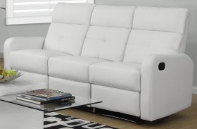 85WH-3 White Bonded Leather Reclining Sofa
