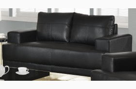 8602BK Black Bonded Leather Loveseat