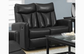 87BK-2 Black Bonded Leather Reclining Loveseat