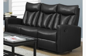 87BK-3 Black Bonded Leather Reclining Sofa