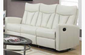87IV-3 Ivory Bonded Leather Reclining Sofa