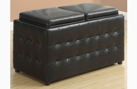 Dark Brown Leather Storage Trays Ottoman