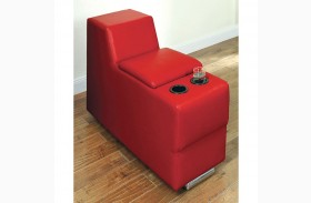 Floria Red Bonded Leather Match Storage Console