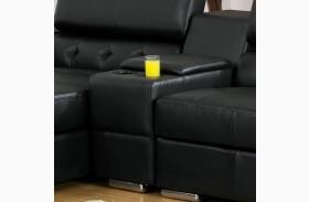Floria Black Bonded Leather Match Storage Console
