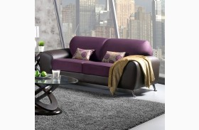 Avdira Grape Suede and Leatherette Sofa