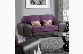 Avdira Grape Suede and Leatherette Loveseat