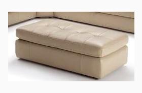 397 Beige Italian Leather Ottoman
