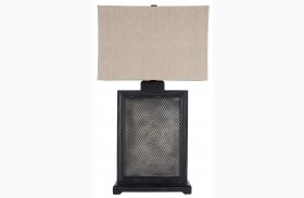Black/Silver Wood Table Lamp