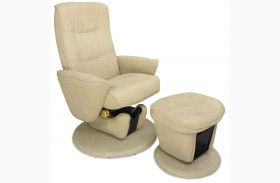 Relax-r Camel Tan Fabric Swivel Glider Recliner with Ottoman