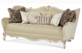 Lavelle Blanc Wood Trim Tufted Sofa