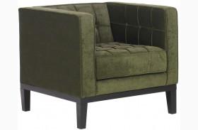 Roxbury Tufted Green Fabric Arm Chair