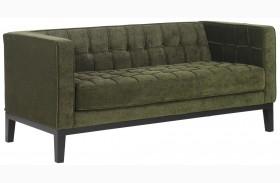 Roxbury Tufted Green Fabric Loveseat