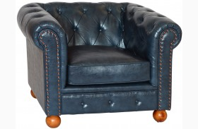 Winston Antique Blue Bonded Leather Chair