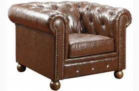 Winston Vintage Mocha Bonded Leather Chair