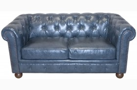 Winston Antique Blue Bonded Leather Loveseat