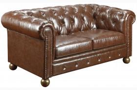 Winston Vintage Mocha Bonded Leather Loveseat