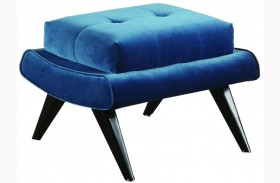 5Th Avenue Cerulean Blue Velvet Ottoman