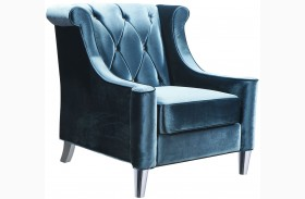 Barrister Blue Velvet with Crystal Buttons Chair