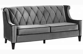 Barrister Gray Velvet Sofa