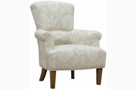 Barstow Cream Flower Fabric Accent Chair
