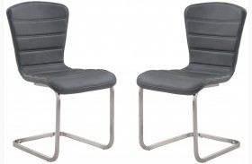 Cameo Gray Side Chair Steel Set of 2