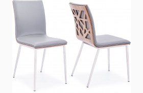 Crystal Brushed Stainless Steel Dining Chair Set of 2