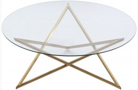 Crest Brushed Gold Coffee Table