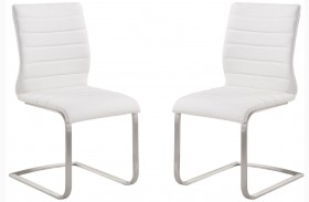 Fusion Contemporary White Side Chair Set of 2