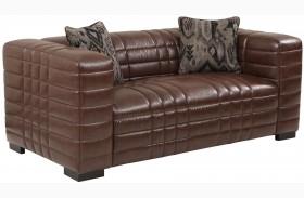 Maxton Brown Leather Loveseat