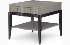 Symphony Platinum & Black Tie 1 Drawer End Table
