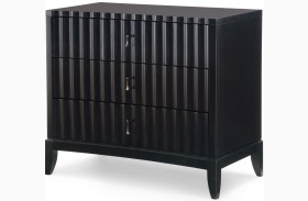 Symphony Platinum & Black Tie 3 Drawers Bedside Chest