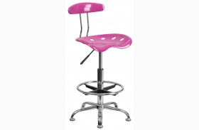 Vibrant Candy Heart and Chrome Drafting Stool