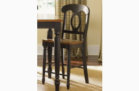 Low Country Black Napoleon Back Barstool Set of 2