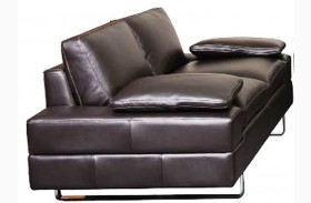 Lindo Black Leather Loveseat