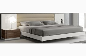 Lisbon Natural White Lacquer Queen Size Bed
