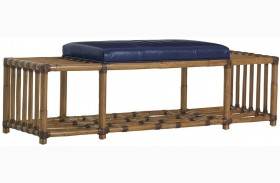 Twin Palms Seafarer Navy Leather Bench