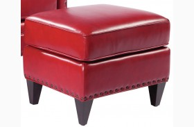Logan Supple Red Leather Ottoman