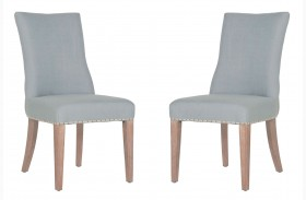 Lourdes Stone Wash Bisque French Linen Dining Chair Set of 2